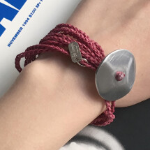 -Giò Red hand made bracelet with big botton-22