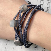 -Giò Blue jeans hand made bracelet with cubes-22