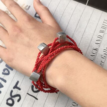 -Giò Red hand made bracelet with cubes-24