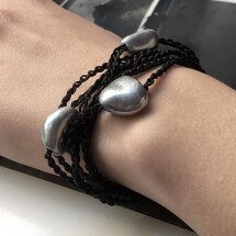 -Giò Black hand made bracelet with nuggets-21