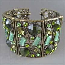 -Incredibly beautiful metal bangle with different green rhinestones-21