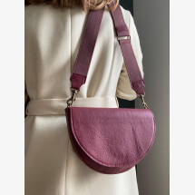 -Semicircular bag made of upcycled leather Bordeaux-21