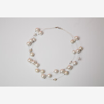 -Multi-row necklace shell pearl silver-21