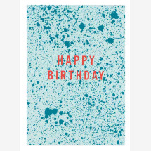 -Happy Birthday speckle turquoise mint postcard-21