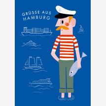 -Hamburg Jörn Greetings Blue Postcard-21