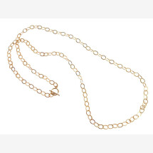 -Necklace Gold plated Highly polished oval 90 cm-21