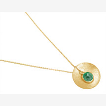 -Necklace Pendant 925 Silver Gold Plated Shell Geometric Design Emerald Green 45 cm-21