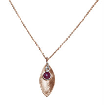 -Necklace Pendant 925 Silver Rose Gold Plated Marquise Minimalist DesignRubinRed 45 cm-21