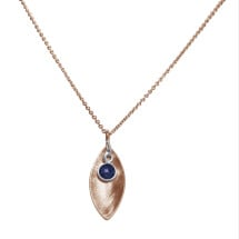 -Necklace Pendant 925 Silver Rose Gold Plated Marquise Minimalist Design Sapphire Blue 45 cm-21