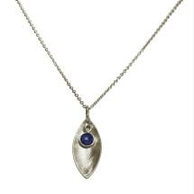 -Necklace Pendant 925 Silver Marquise Minimalist Design Sapphire Blue 45 cm-21