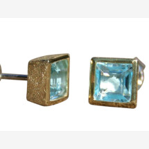 -Earrings 925 Silver Gold Plated Topaz Blue 9mm-21