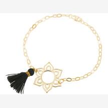 -Bracelet 925 Silver Gold Plated Lotus Flower Mandala Tassel Gray YOGA-21