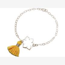 -Bracelet 925 Silver Lotus Flower Mandala Tassel Golden Yoga-21