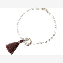 -Bracelet 925 Silver Lotus Flower Tassel Rose YOGA-21