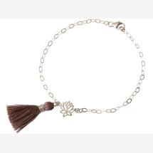 -Bracelet 925 Silver Lotus Flower Tassel Rose YOGA 4 cm-21
