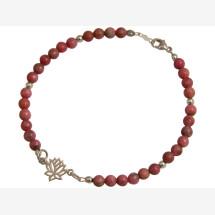-Bracelet 925 Silver Lotus Flower GemstonePink YOGA-21