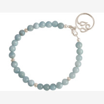 -Ladies bracelet made of 925 silver with YOGA lotus flower and aquamarines-21
