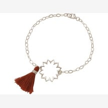 -Bracelet 925 Silver Mandala TasselRed brown YOGA-21