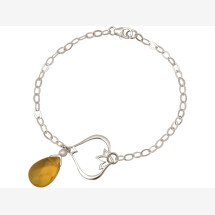 -Bracelet 925 Silver Lotus Flower Citrine Quartz Drop Gold Gold Yellow YOGA-21