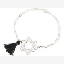 -Bracelet 925 Silver Lotus Flower Mandala Tassel Gray YOGA-21