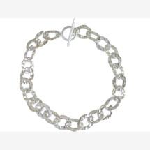 -Unisex Bracelet Solid 925 Silver Hammered 19 cm-21