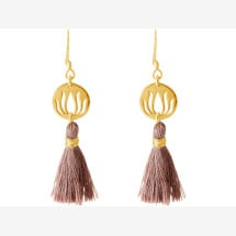 -Earrings Earrings 925 Silver Gold Plated Lotus Flower Tassel Rose YOGA 4 cm-21