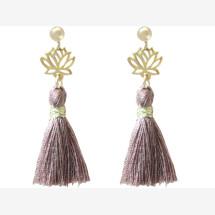 -Earrings Earrings 925 Silver Gold Plated Lotus Flower Tassel Rose YOGA 4 cm-21