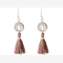 -Earrings Earrings 925 Silver Lotus Flower Tassel Rose YOGA 4 cm-21