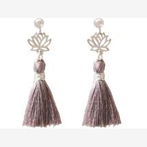 -Earrings Earrings 925 Silver Lotus Flower Tassel Rose YOGA 4 cm-21
