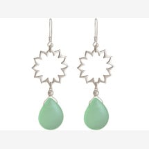-925 silver earrings with YOGA mandala lotus flowers and chalcedony-21