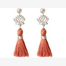 -Earrings Earrings 925 Silver Lotus Flower TasselRed brown YOGA 4 cm-21