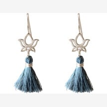 -Earrings Earrings 925 Silver Lotus Flower Tassel Blue YOGA 4 cm-21