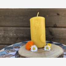-Heavy pillar candle sun moon and stars Made from the purest beeswax-21