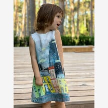 "-Linen Dress ""Paint the Town"" for children-21"