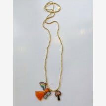 -Gold colored necklace with orange wooden pendants-20