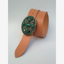 -Oval Green Leather Belt-21