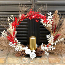 -Flower hoop with candle stand ring flower ring dried flowers dried flower hoop pampas grass boho Christmas wreath-22