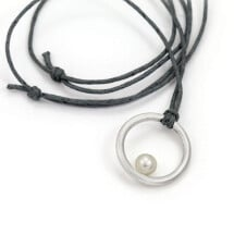 -Pendant JOSIE silver with pearl on ribbon-2