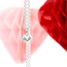 -Mini silver heart pendant on a ribbon-21
