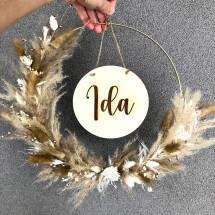 -Flower Hoop personalized in M beige ivory dried flower wreath with desired name dried flower hoop-21