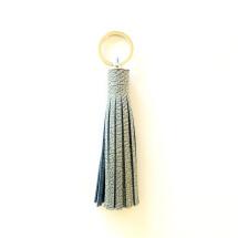 -Quaste Schlüsselanhänger oder Taschenanhänger aus upcycling Leder helljeansblau-2