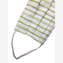 -Fabric mask white green striped with rubber-21