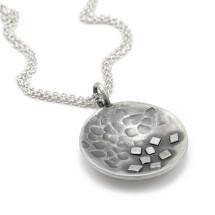 -Round pendant blackened silver MAEVA-22