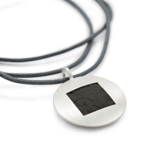 -Round pendant silver with leather square JILL-22