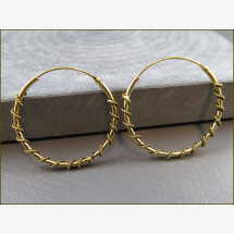 -925 Silver Indian Hoop Earrings with Small Ball Gold Plated DUPLICATE-20