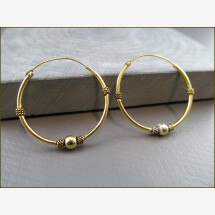 -925 Silver Indian Hoop Earrings with Small Ball Gilded-21