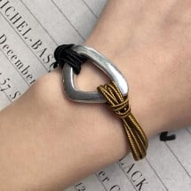 -Ines black/mustard bracelet in trimming and triangle element-21