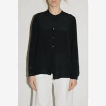 -Black Silk Long Sleeve Shirt from POMANDÈRE-21
