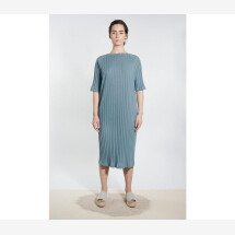 -Jersey Boat Neck Dress Gray Blue-21