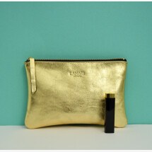-Gold Leather Cosmetic Bag June BIG-2